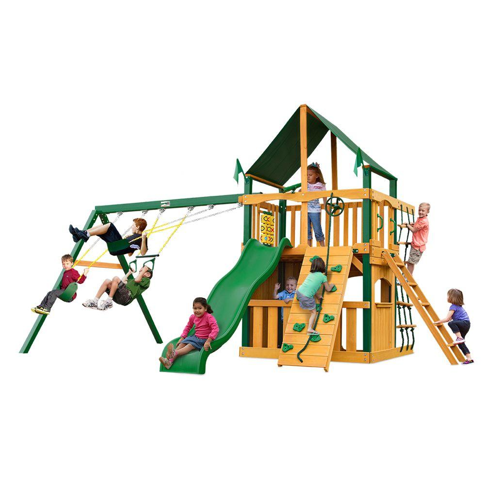 Chateau Clubhouse with Timber Shield and Sunbrella Canvas Forest Green Canopy