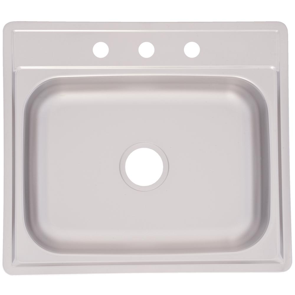 KINDRED Drop-In Stainless Steel 25.in 3-Hole Single Bowl Kitchen Sink