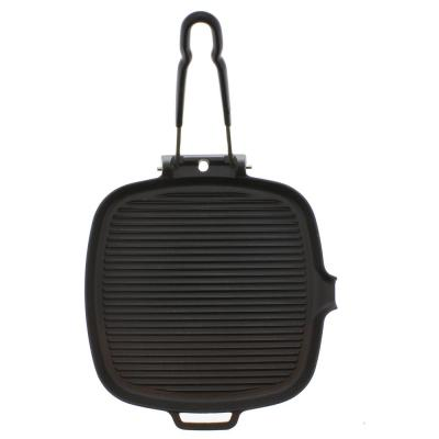 9 in. Square French Cast Iron Grill with Folding Handle