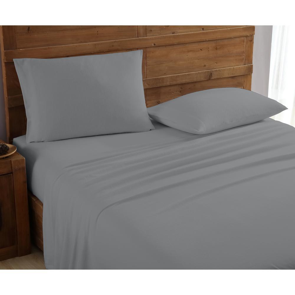 Geraldine 100% Cotton Grey Grey Flannel Twin Sheet Set M577482