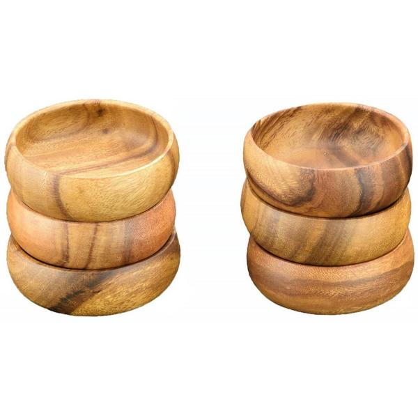 Acaciaware 4 in. 6-Piece Wooden Round Dip and Nut Bowl Set
