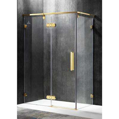 Sultan 55.51 in. x 78.74 in. Semi-Frameless Corner Hinged Shower Door in Gold