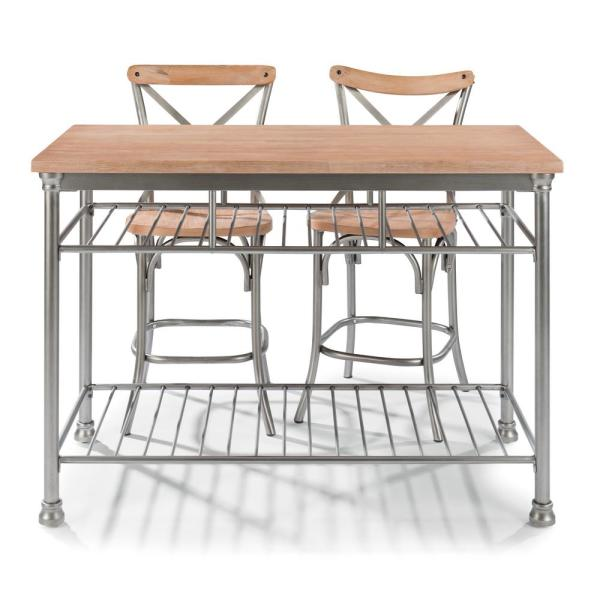 French Quarter Aged White Wash Natural Kitchen Island Set