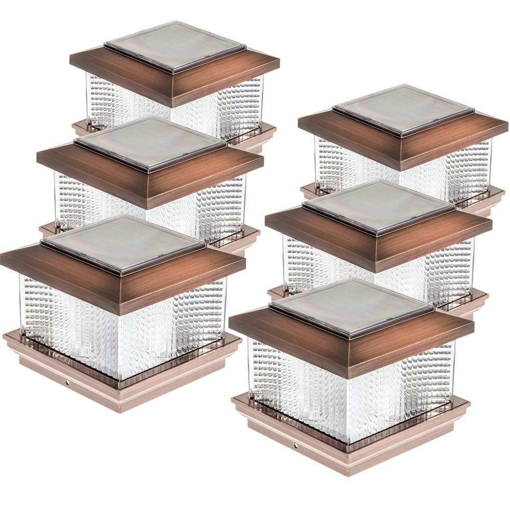 5 in. x 5 in. Solar Powered Integrated LED Copper Plastic...