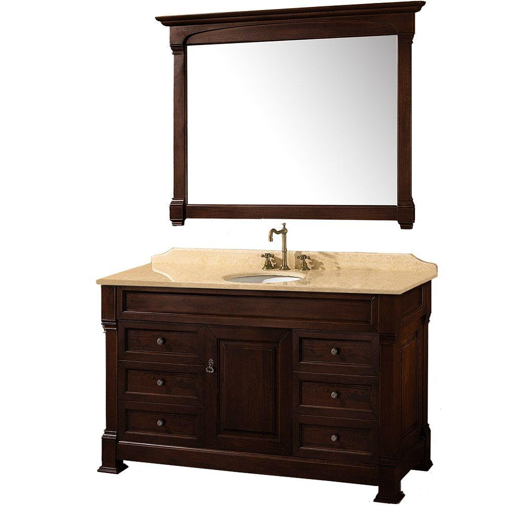 Wyndham Collection Andover 55 in. Vanity in Dark Cherry with Marble Vanity Top in Ivory and Mirror