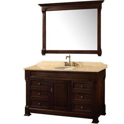 Andover 55 in. Vanity in Dark Cherry with Marble Vanity Top in Ivory and Mirror