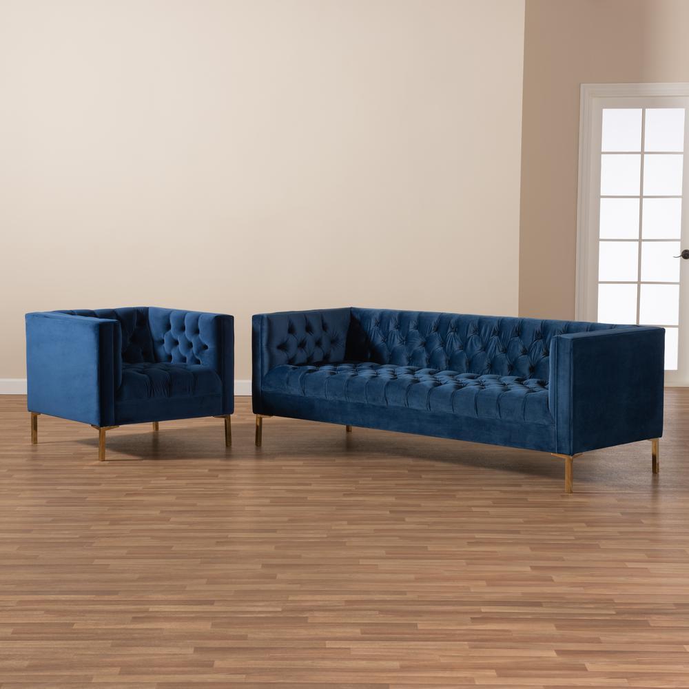 Royal Blue And Gold Living Room Set