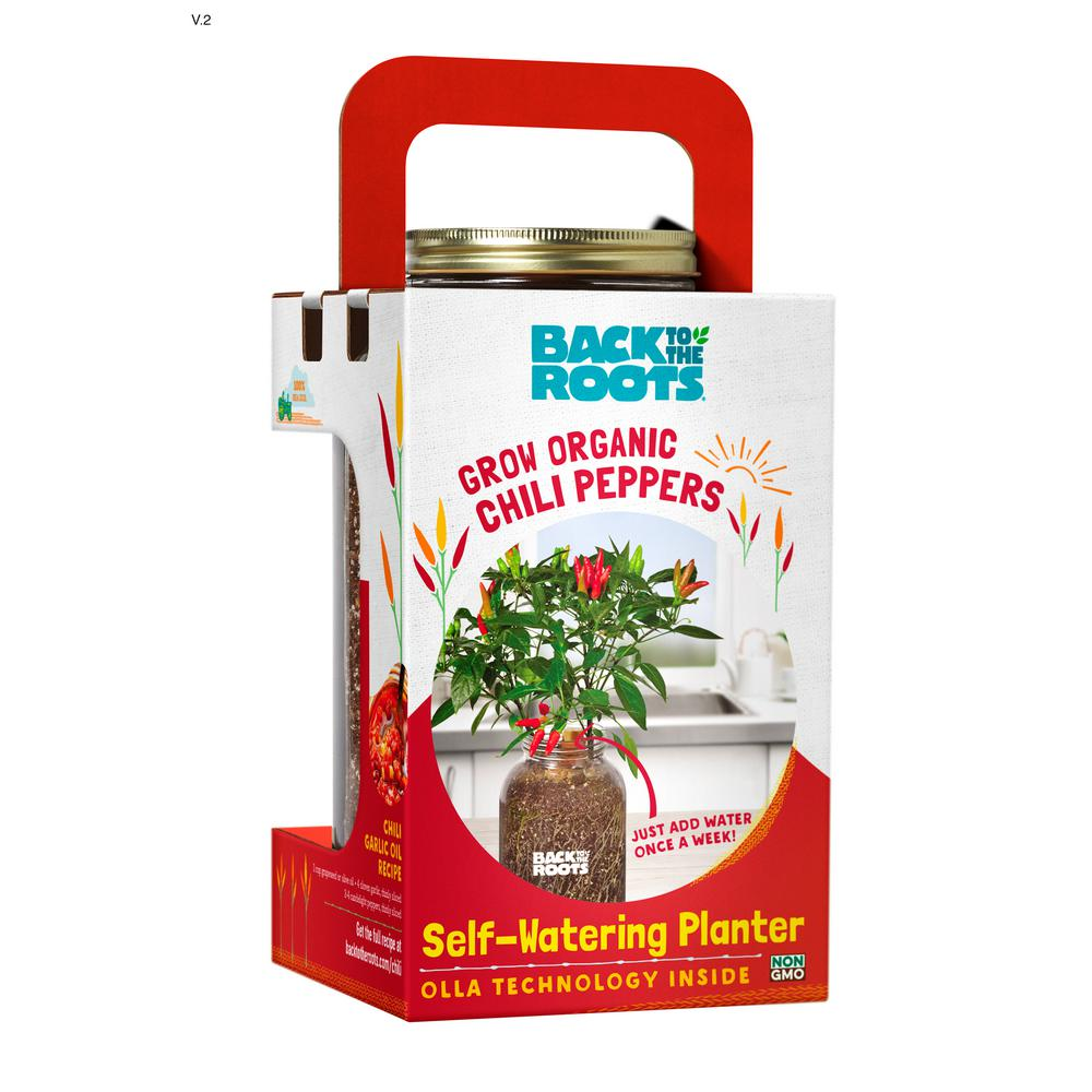 Back To The Roots Self Watering Planter Organic Chili Pepper 25200 The Home Depot