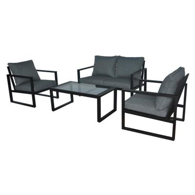 Barclay Black 4-Piece Steel Outdoor Patio Conversation Set with Grey Cushions