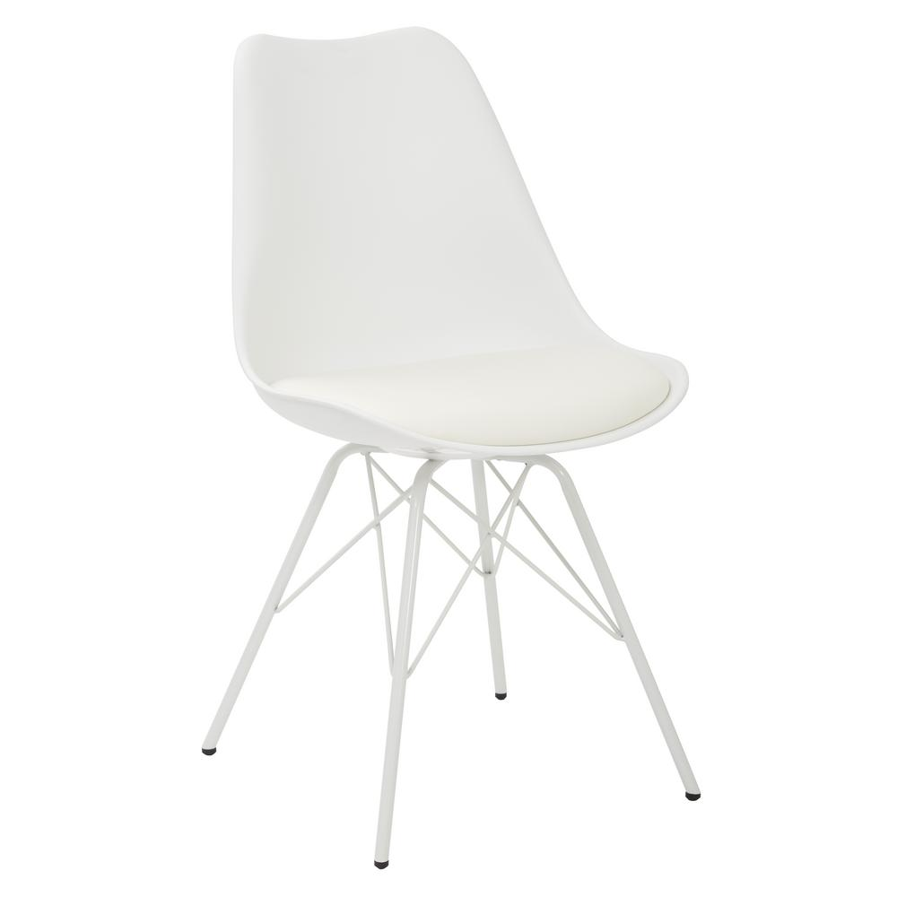 Emerson White Side Chair with 4-Leg Base (2 per Pack)