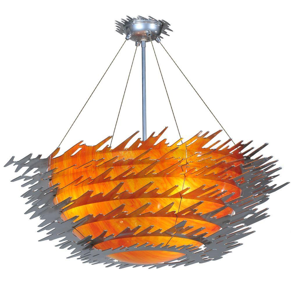 Illumine 3 Light Sunset Semi-Flushmount Acrylic Glass Chrome Finish
