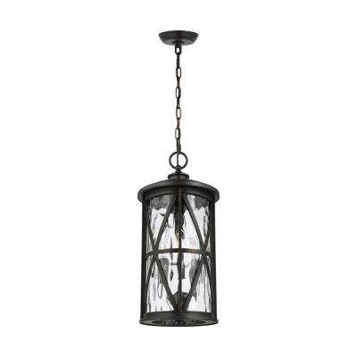 Millbrooke Medium 3-Light Antique Bronze Hanging Pendant with Seeded Glass