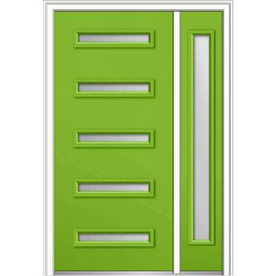 50 in. x 80 in. Davina Frosted Glass Left-Hand 5-Lite Modern Painted Fiberglass Smooth Prehung Front Door with Sidelite