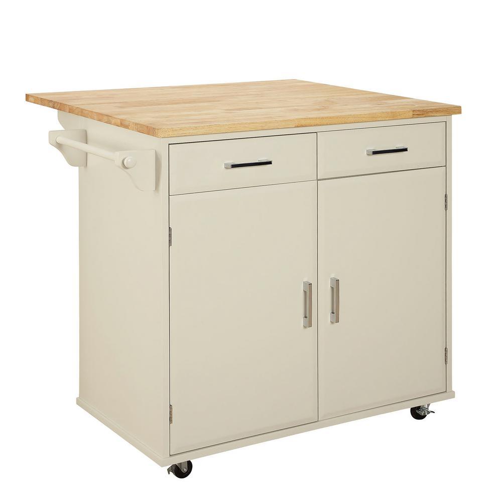 USL Townville Polar White Kitchen Cart with Drop Leaf ...