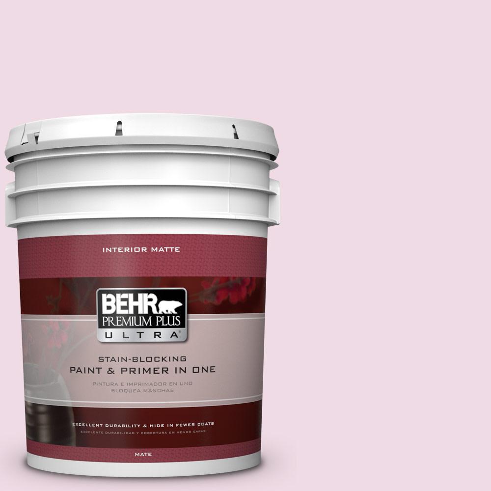 BEHR Premium Plus Ultra 5 gal. #M130-1 Pink Posies Matte Interior Paint