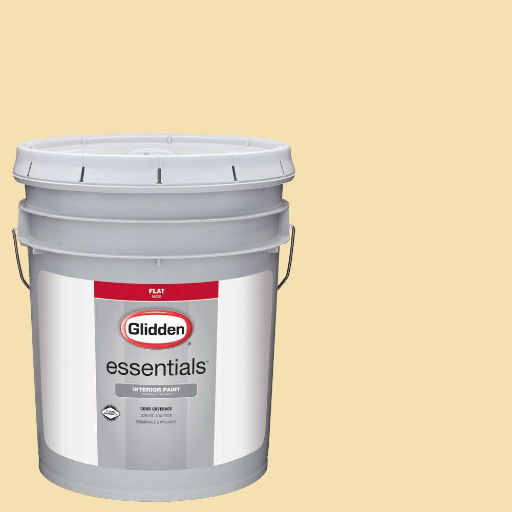 Glidden Essentials 5 gal. #HDGY32 Natural Straw Flat Interior Paint