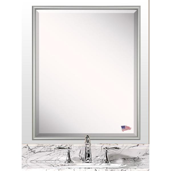 33.125 in. x 27.125 in. Foxtrot Satin Silver Wide Beveled Vanity Wall Mirror