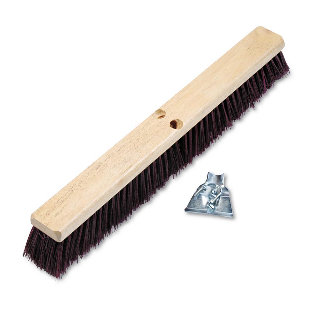 24 in. Maroon Stiff Polypropylene Floor Brush Head with 3/1-4 in Brush