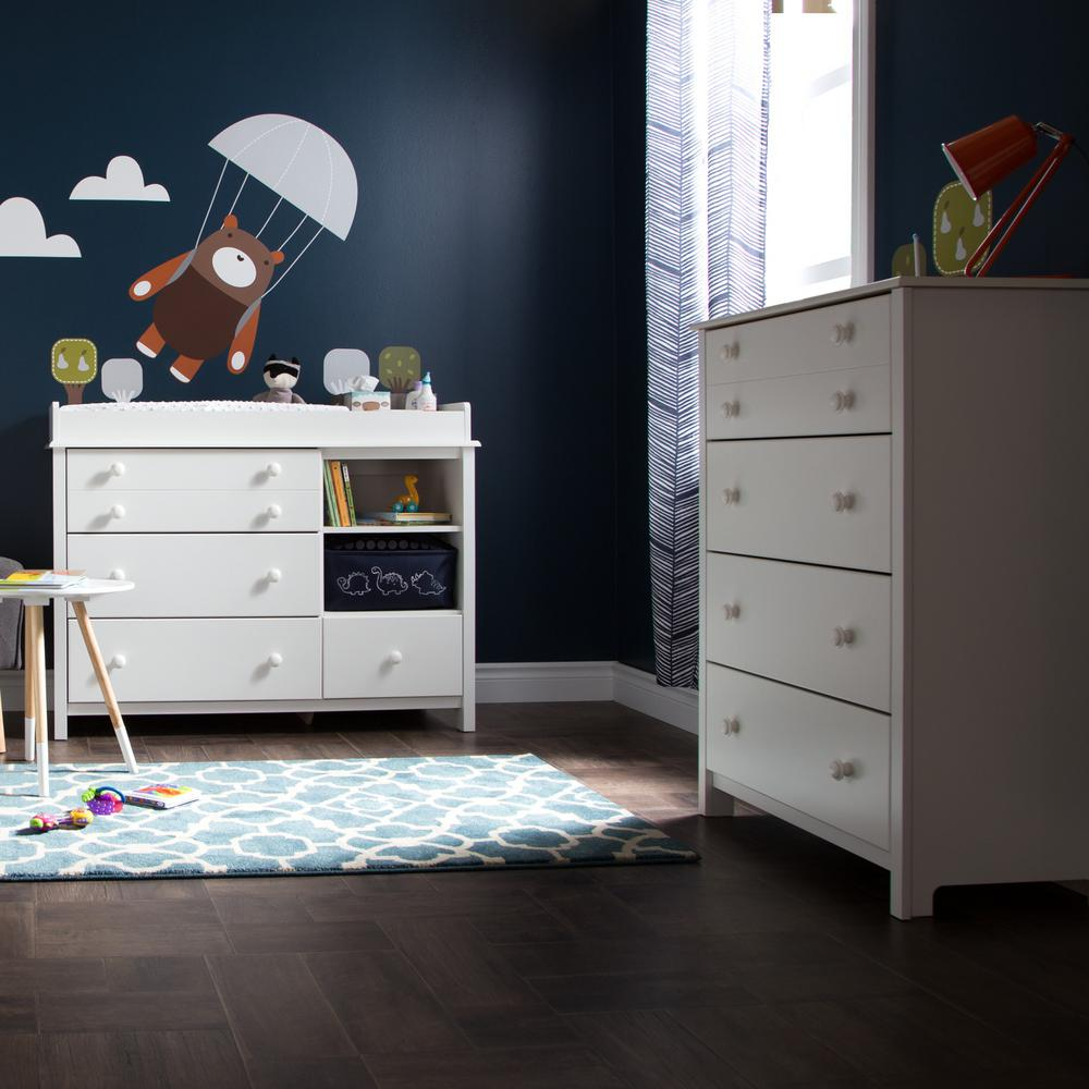 South Shore Little Smileys 4 Drawer Pure White Changing Table And Chest Set
