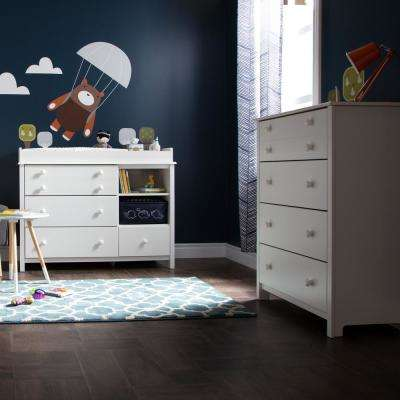 Little Smileys 4-Drawer Pure White Changing Table and Chest Set