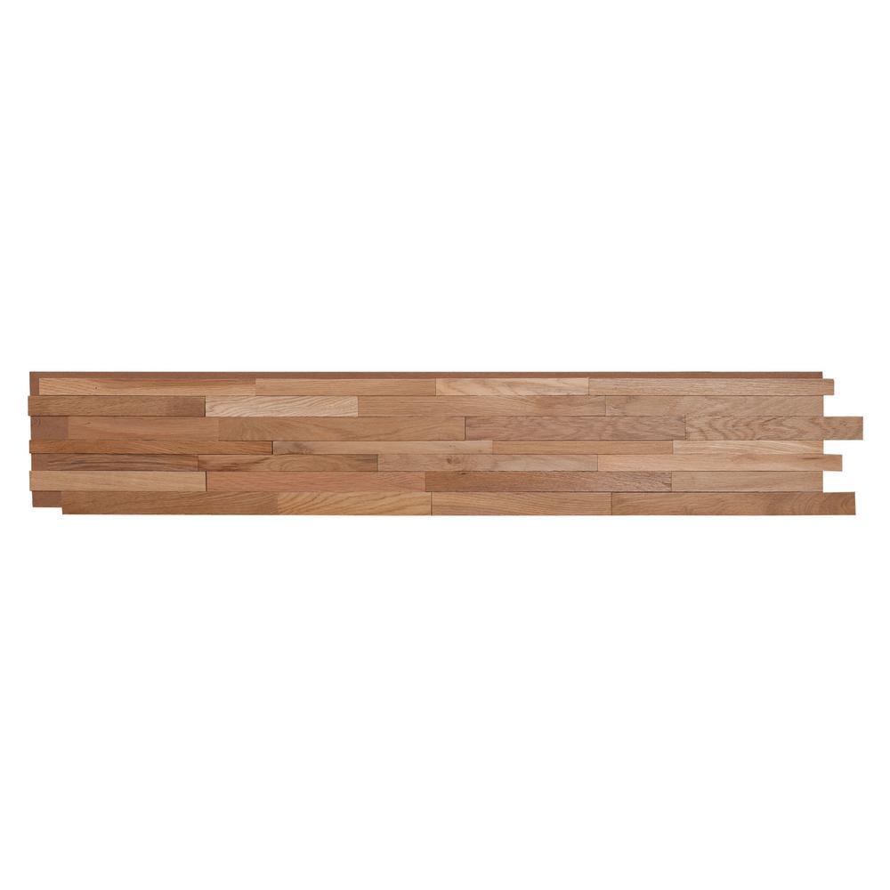 1/2 in. x 7-7/8 in. x 47-1/4 in. Oak 3D Solid Hardwood Interlocking Wall Plank