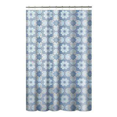 Printed PEVA Esha 70 in. W x 72 in. L Shower Curtain with Metal Roller Hooks in Blue