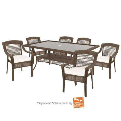 Spring Haven Grey 7-Piece Patio Dining Set with Cushion Insert (Slipcovers Sold Separately)