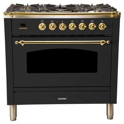 36 in. 3.55 cu. ft. Single Oven Italian Gas Range with True Convection, 5 Burners, Griddle, Brass Trim in Matte Graphite