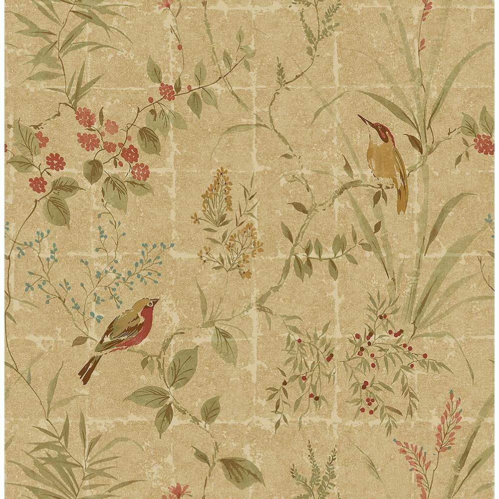 Beacon House Imperial Green Garden Chinoiserie Wallpaper Sample 2669-21704SAM