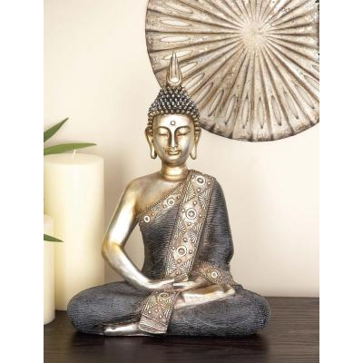 16 in. x 12 in. Decorative Sitting Buddha Sculpture in Colored Polystone