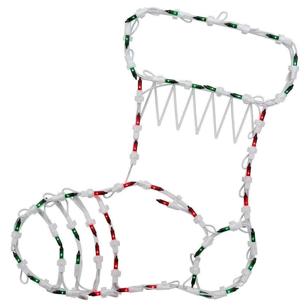 Northlight 18 in. Christmas Lighted Stocking Window Silhouette Decoration (4-Pack)