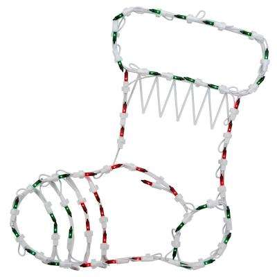 18 in. Christmas Lighted Stocking Window Silhouette Decoration (4-Pack)