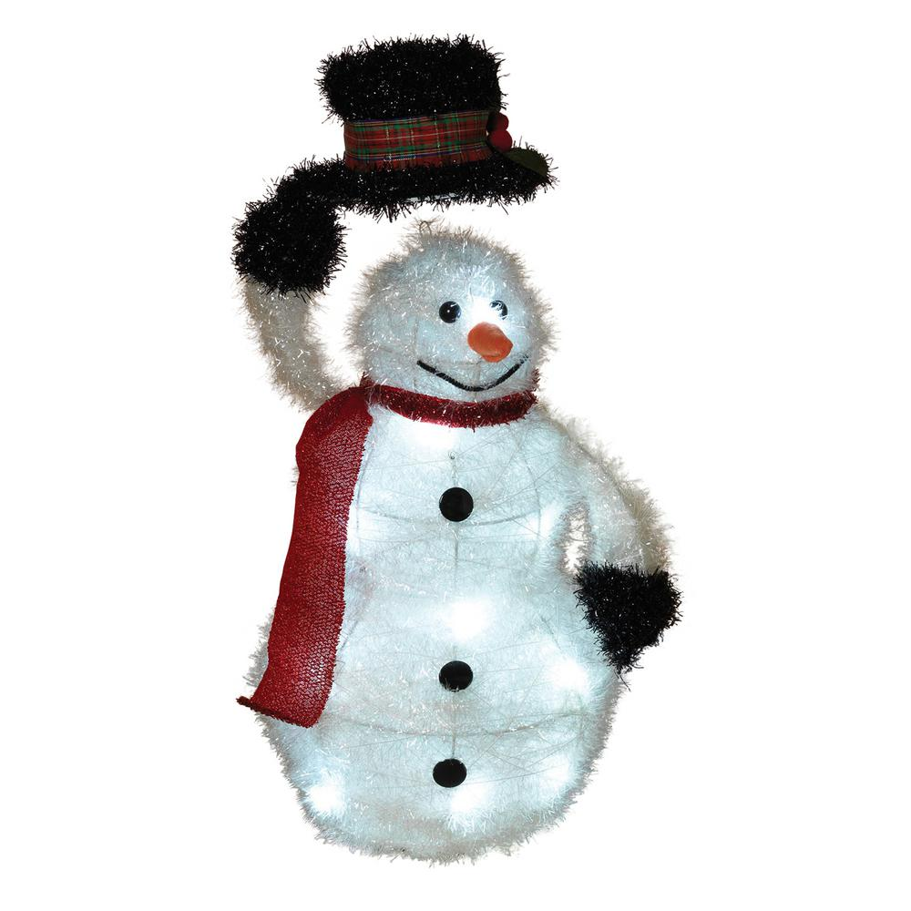 h battery operated outdoor tinsel snowman