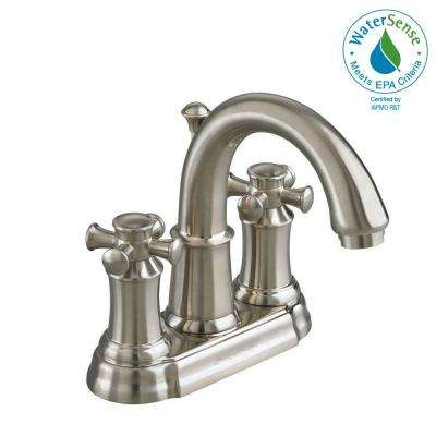 Portsmouth 4 in. 2-Handle High Arc Bathroom Faucet with Speed Connect Drain in Brushed Nickel