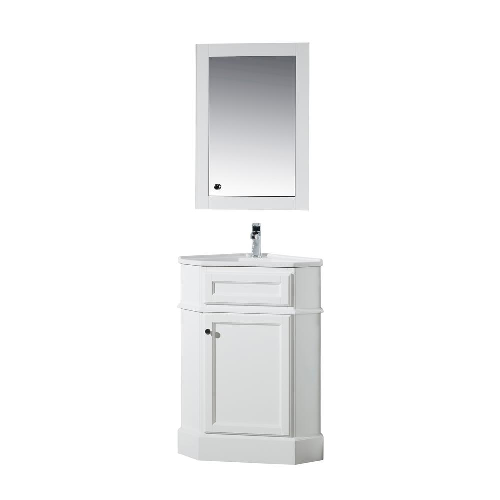 stufurhome Hampton 27 in. W Corner Vanity in White with Porcelain Vanity Top in White with White Basin and Mirror Cabinet