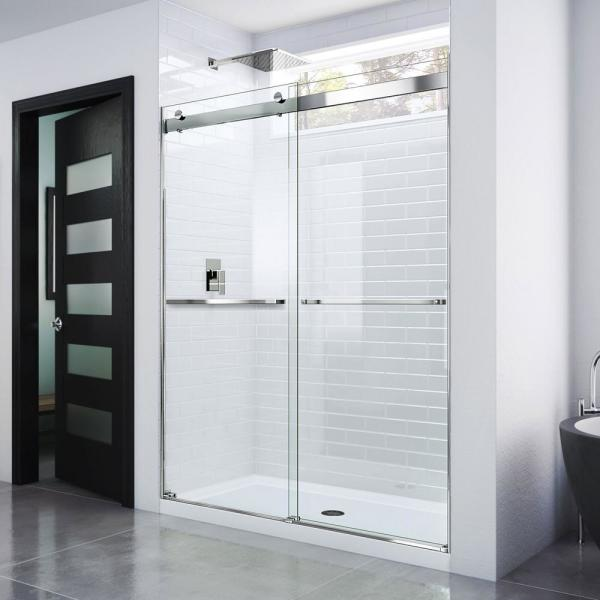 Essence 56 in. to 60 in. x 76 in. Semi-Frameless Sliding Shower Door in Chrome