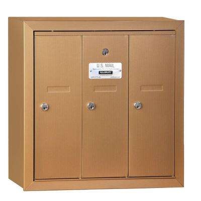 Brass Surface-Mounted USPS Access Vertical Mailbox with 3 Door