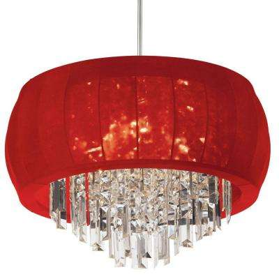Catherine 11 Light Halogen Polished Chrome Chandelier with Red Lycra Shades