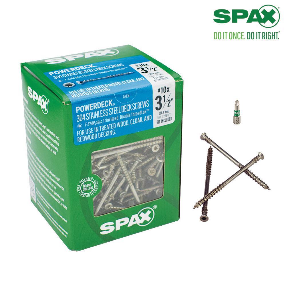SPAX #10 x 3-1/2 in. T-Star Plus Drive Trim Head DoubleLok Thread Stainless Steel Screw (300-Box)