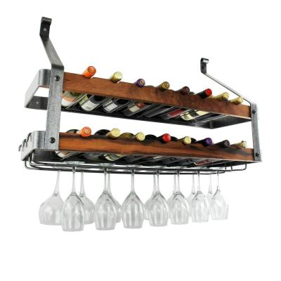 Signature 36 in. 16-Bottles Bookshelf Double Wine Rack Hammered Steel with Tigerwood