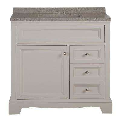 Windsor Park 37.59 in. W x 18.75 in. D Vanity in Cream with Solid Surface Vanity Top in Autumn with White Basin