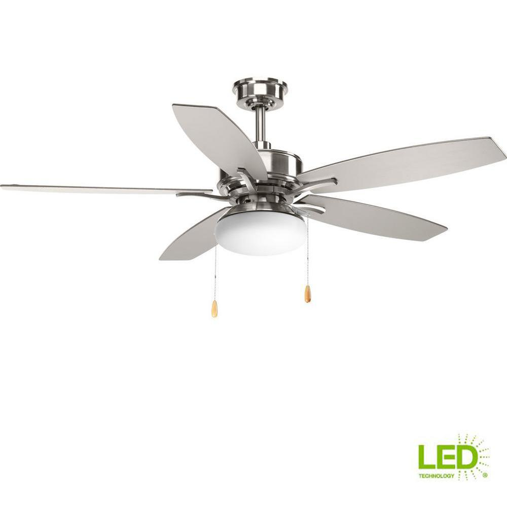 Modern Fan With Lighting Ideas For Contemporary Bedroom: Progress Lighting Billows Collection 52 In. LED Indoor