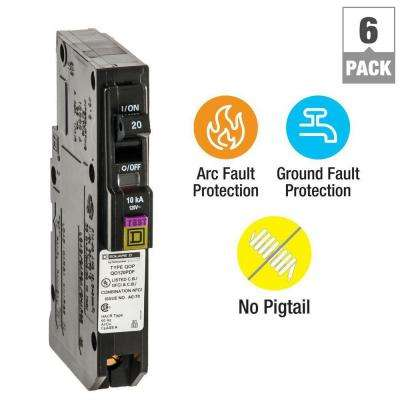 QO 20 Amp Single-Pole Plug-On Neutral Dual Function (CAFCI and GFCI) Circuit Breaker (6-Pack)