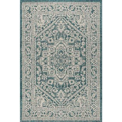 Sinjuri Medallion Teal Blue/Gray 7 ft. 9 in. x 10 ft. Textured Weave Indoor/Outdoor Area Rug
