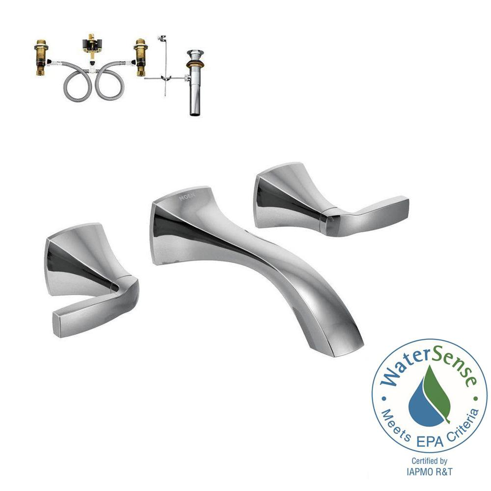 Voss 2 Handle Wall Mount Bathroom Faucet With Valve In Chrome