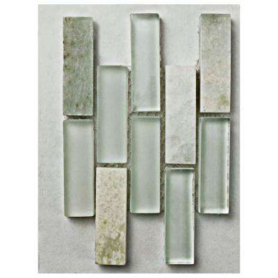 Tessera Subway Ming Glass and Stone Mosaic Tile - 3 in. x 4 in. Tile Sample