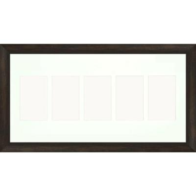 5-Opening Holds (5) 4 in. x 6 in. Matted Brown Photo Collage Frame (Set of 2)
