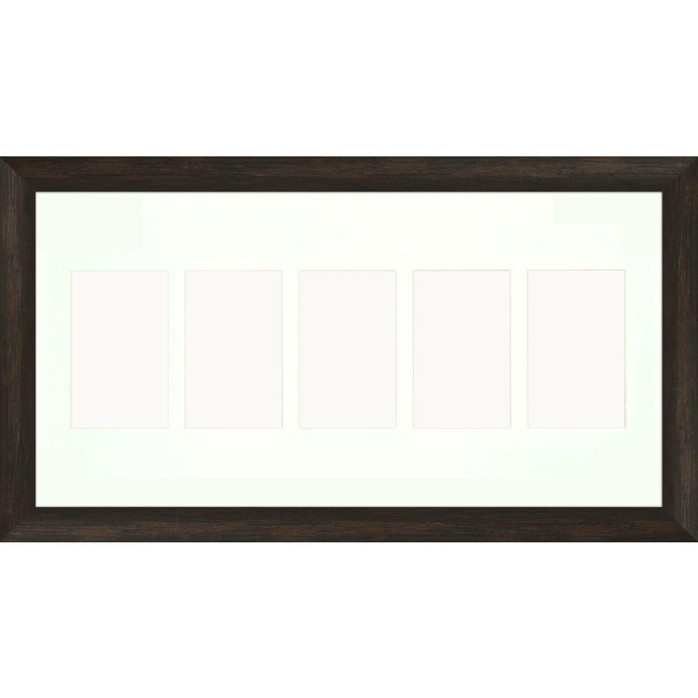 PTM Images 5-Opening Holds (5) 4 in. x 6 in. Matted Brown Photo Collage Frame (Set of 2)