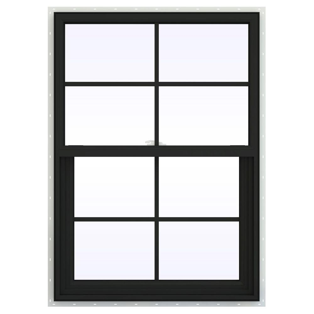 JELD-WEN 29.5 in. x 41.5 in. V-2500 Series Single Hung Vinyl Window with Grids - Bronze