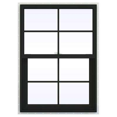 29.5 in. x 47.5 in. V-2500 Series Bronze Painted Vinyl Single Hung Window with Colonial Grids/Grilles
